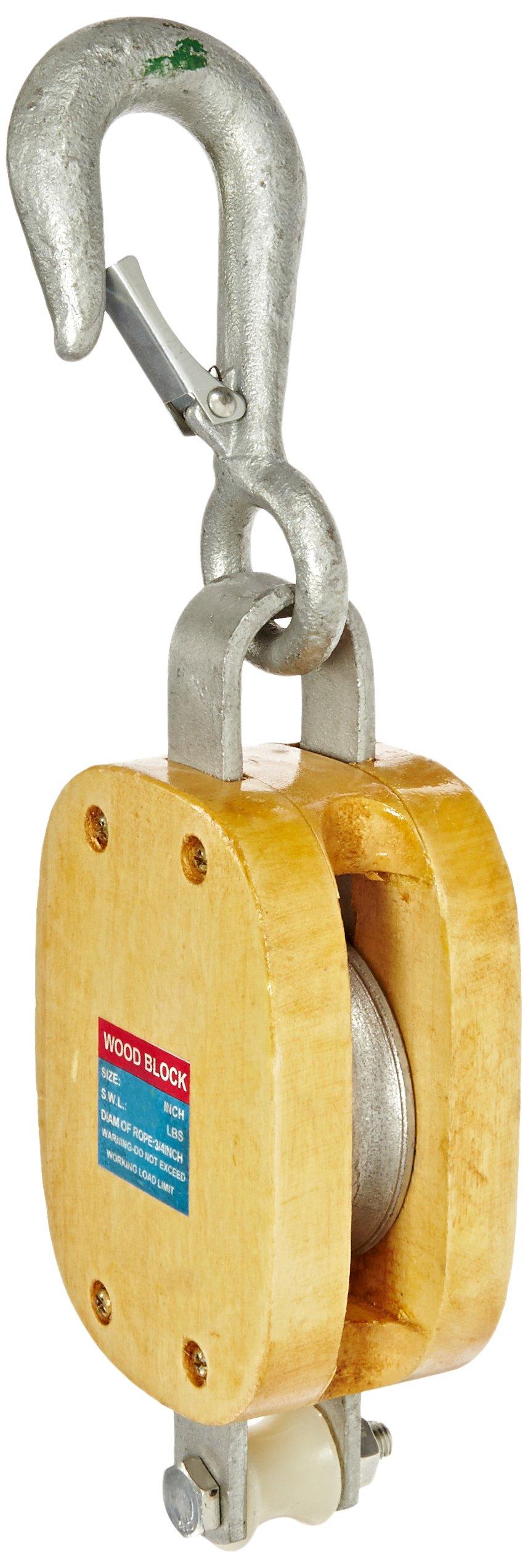 Indusco 16900086 6'' Single Wood Manila Rope Block with Hook, 1800 lbs Load Capacity, 3/4'' Rope, 3-1/2'' Sheave