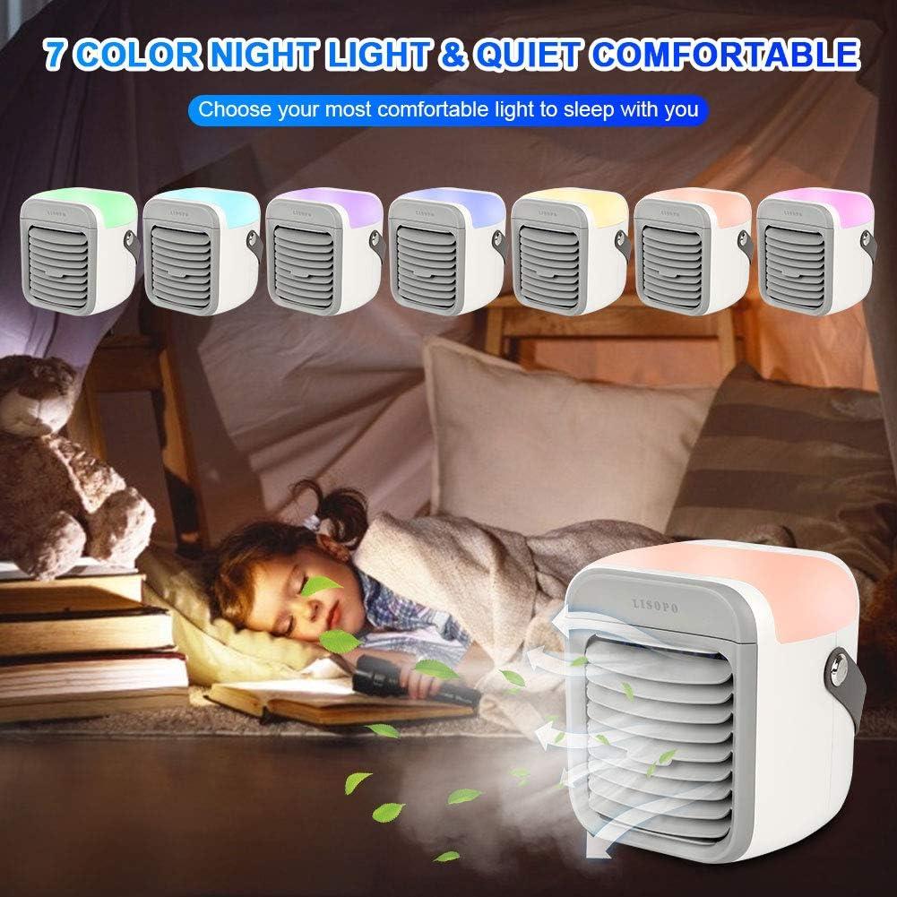 LISOPO Mini climatiseur Portable Portable 4 en 1 Mini Air Cooler avec 3 Niveaux de Puissance et 7 Couleurs LED