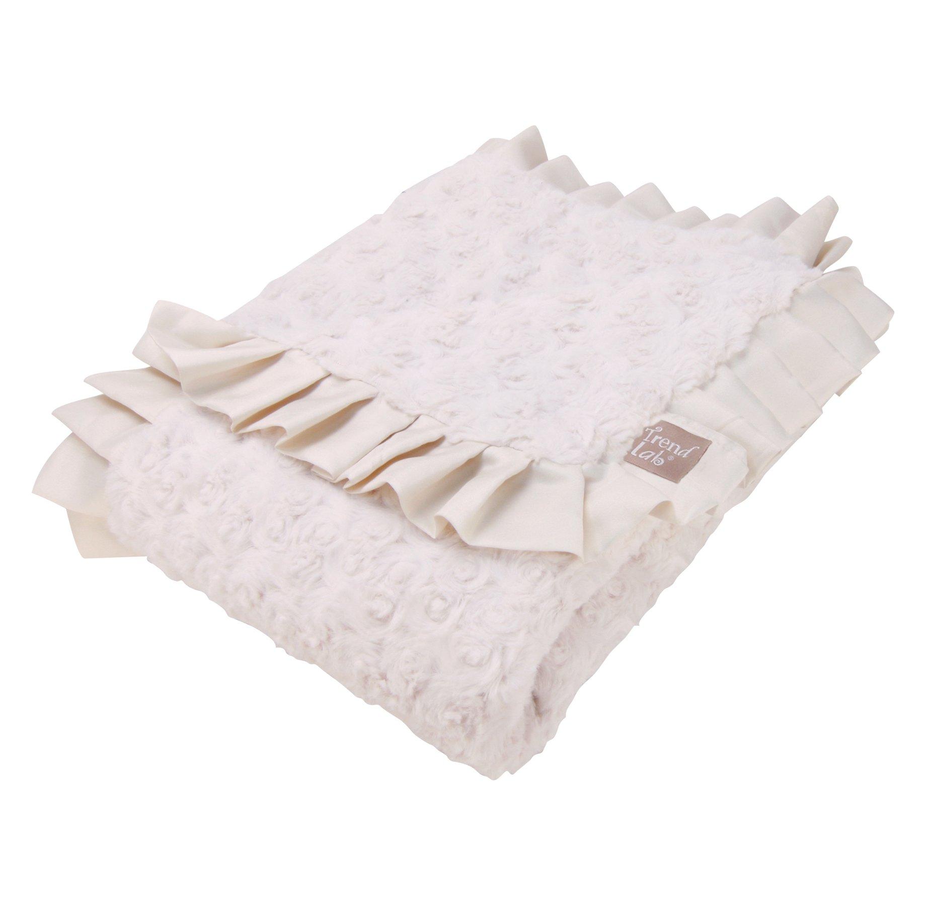 Trend Lab Velour Ruffle Trimmed Receiving Blanket, Cream