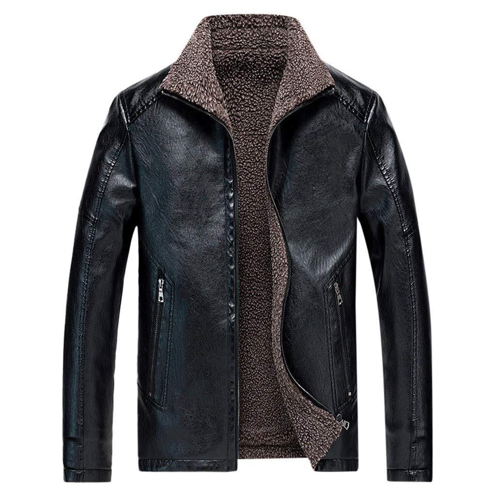 Fitfulvan Men's Plus Velvet Warm Leather Jackets Biker Motorcycle Outerwear Zipper Long Sleeve Coat Top Black