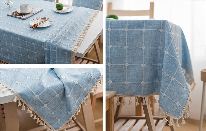 Ommda Moderno Mantel Antimanchas Rectangular Mantel Lino Lavable con Borla para Dise/ño de Comedor Jardin Cocina 60x60cm Beige a Cuadros