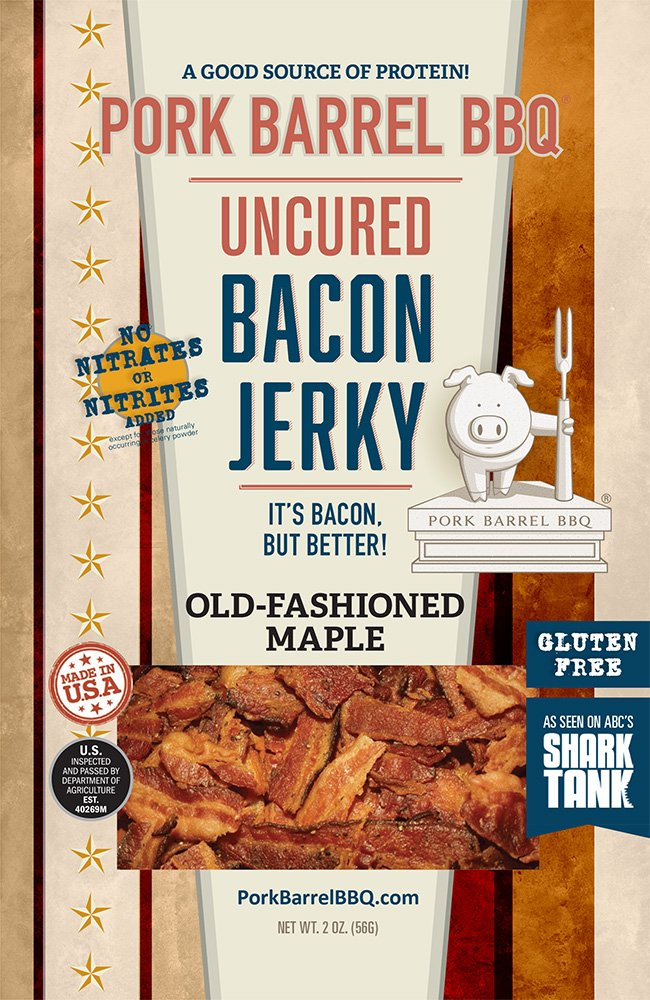 Pork Barrel BBQ Uncured Bacon Jerky, Old-Fashioned Maple, Sweet Maple and Brown Sugar with Smoky, Slow Cooked Bacon 2 OZ Snack Pack | As Seen on Shark Tank | Nitrate and Nitrite Free, Gluten Free