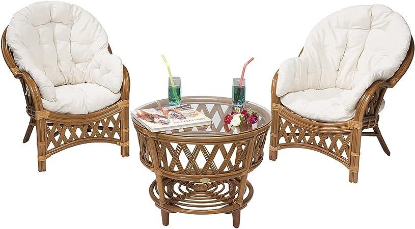 Rotin Design Rebajas : -49% Conjunto terraza Hold de ratán: 2 sillones y una Mesa: Amazon.es: Hogar