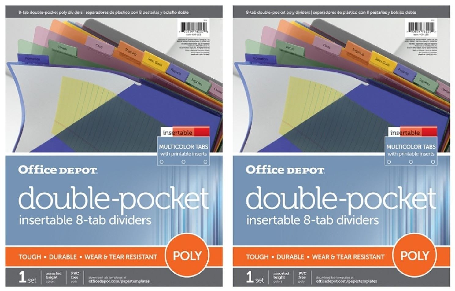 Office Depot (TM) Double-Pocket Insertable 8-tab dividers, multicolor tabs, letter size (2 Set Combo)
