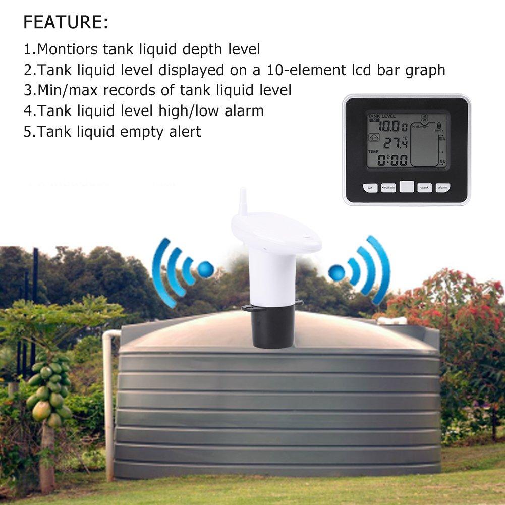 Transmisor de Sensor de Nivel de Agua -40~60 ℃ Sensor L/íquido del Metro del Nivel de Profundidad del Tanque de Agua Ultras/ónico con Exhibici/ón de Temperatura
