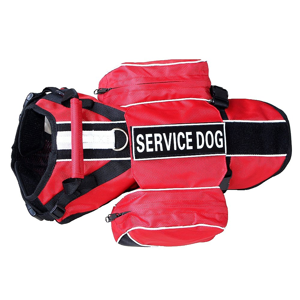 Red M Red M haoyueer Service Dog Backpack Harness Vest Removable Saddle Bags with Label Patches(Red,M)