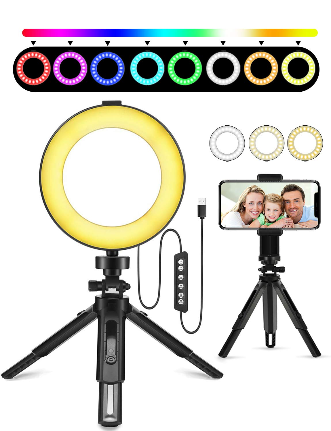 Ring Light 2019 Newest, 6'' Dimmable RGB O Ring Light with Tripod Stand and Cell Phone Holder for Makeup, YouTube Video, Self-Portrait, Mini Desktop Led Ring Light Selfie Light Ring for Smartphone