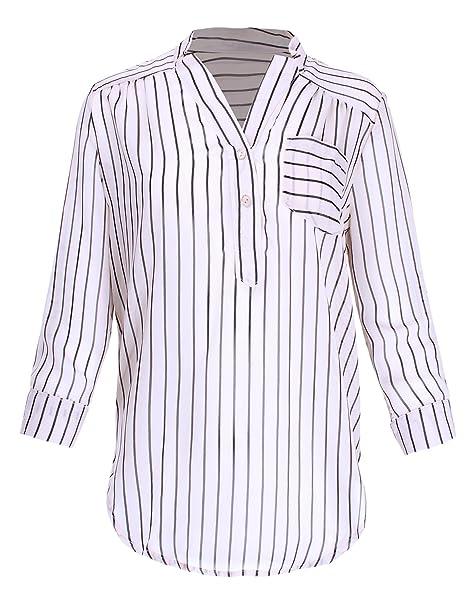 e11b9abc54153 Ladies  Code 3 4 Sleeve Lightweight Sheer Chiffon Stripe Henley Blouse  Taupe Black S