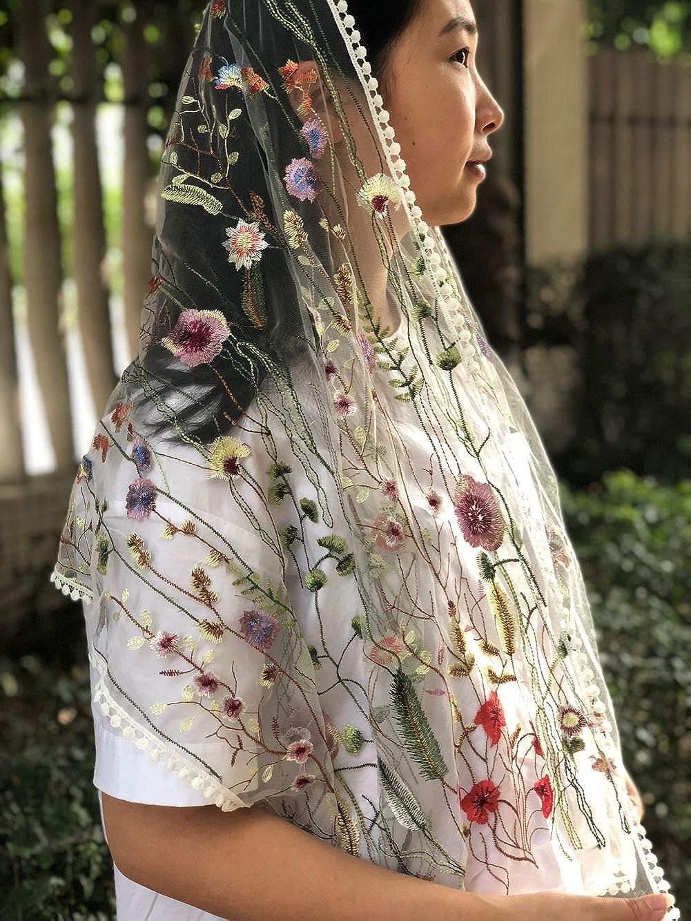 FANFAN Wildflowers Floral Lace Wrap Mantilla Floral Vintage Inspired Lace Chapel Veil Y038