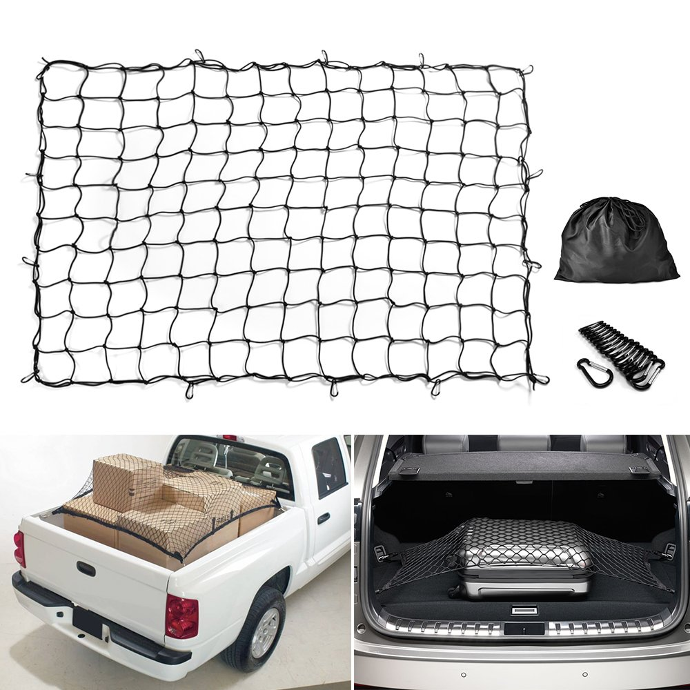 Cargo Net MICTUNING 5'x7' Heavy Duty Truck Bed Bungee Nets Stretches to 10'x14' with 16pcs D Shape Aluminum Carabiners Universal
