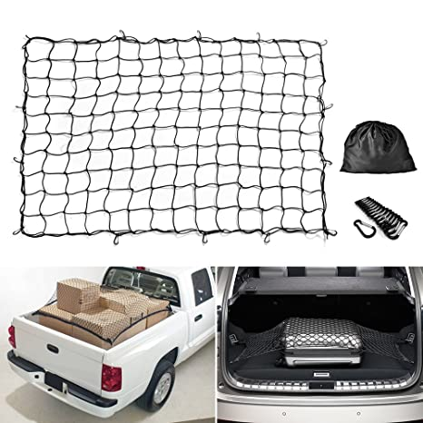 Truck Bed Cargo Net >> Cargo Net Mictuning 5x7 Feet Heavy Duty Truck Bed Bungee Nets Stretches To 10x14 Feet With 16pcs D Shape Aluminum Carabiners Universal For Pickup