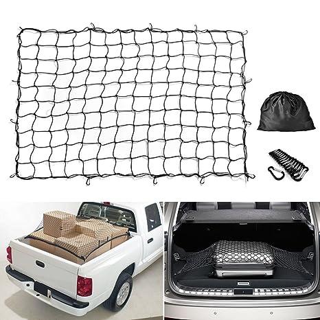 Truck Bed Cargo Net >> Amazon Com Cargo Net Mictuning 5x7 Feet Heavy Duty Truck Bed Bungee