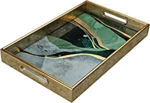 Serving Tray –Coffee Table Tray –Elegant Decorative Tray –PS and Printed Glass Table Tray –Practical and Sturdy Design–Easy to Clean and Washable–Ideal for Coffee,Breakfast,Dessert