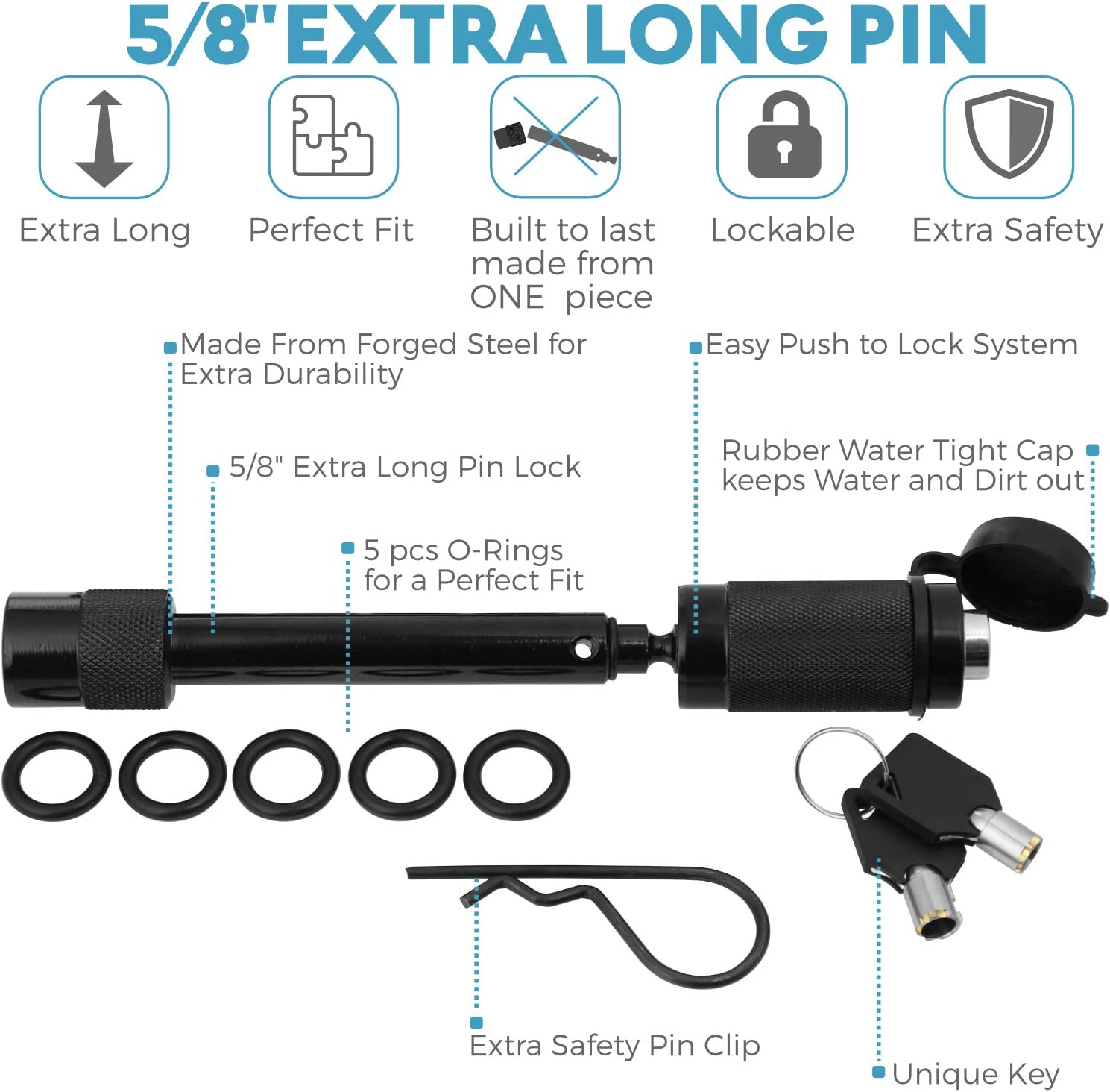 Heavy Duty Bag Rope 2 Shackle Hitch Receiver Off Road Pick Up Towing 3 x 30ft 30,000 lbs. 3//4 D Ring Shackles with Safety Ring 5//8 Locking Pin motormic Tow Strap Recovery Kit