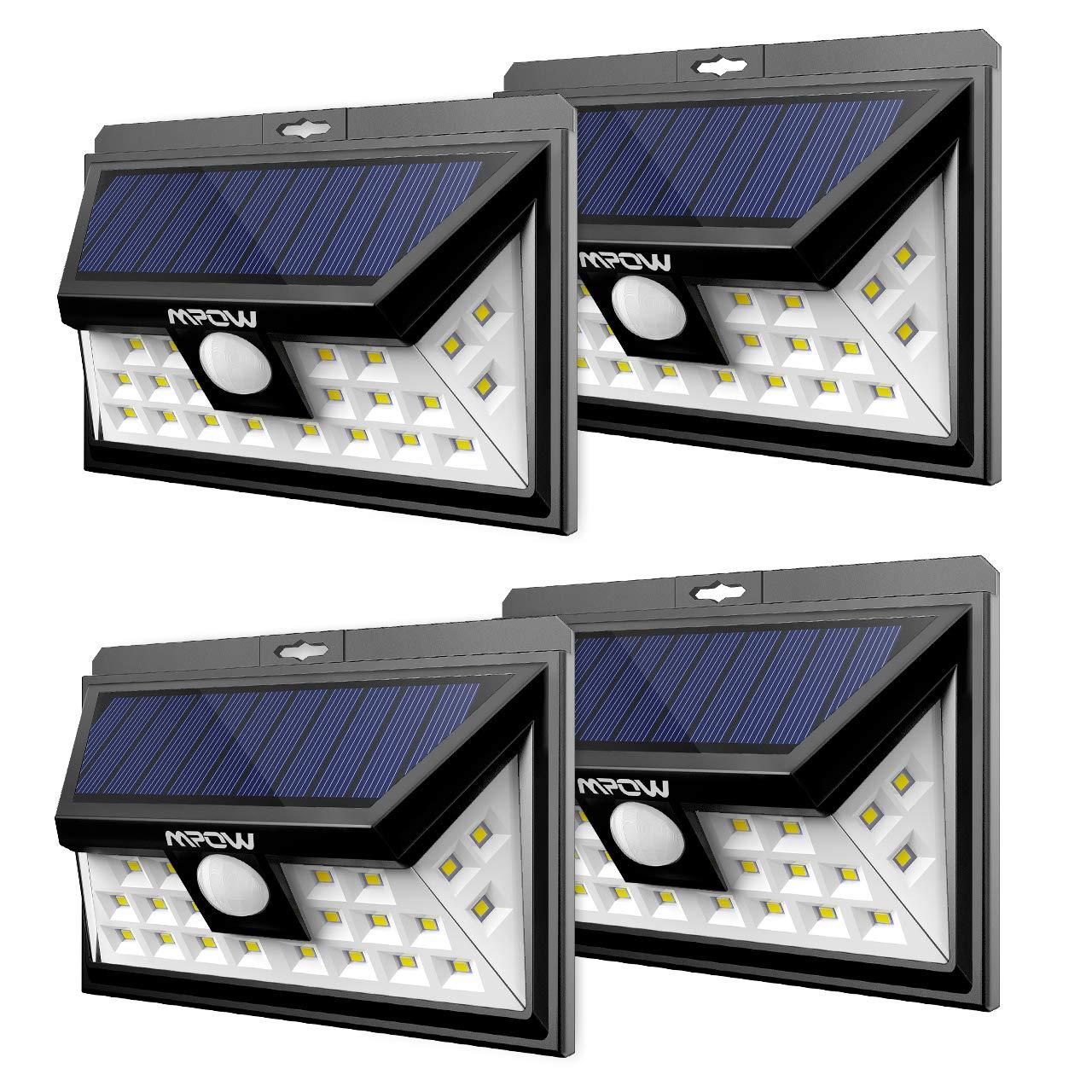 Mpow Solarleuchte 24 LED Solarlampe Weitwinkel Solar Wandleuchte Auß en Solar Betriebene Auß enleuchte, Wandleuchte, Energiesparend Wasserdicht 3 Modi Sicherheit Bewegungssensor fü r Garten, Patio