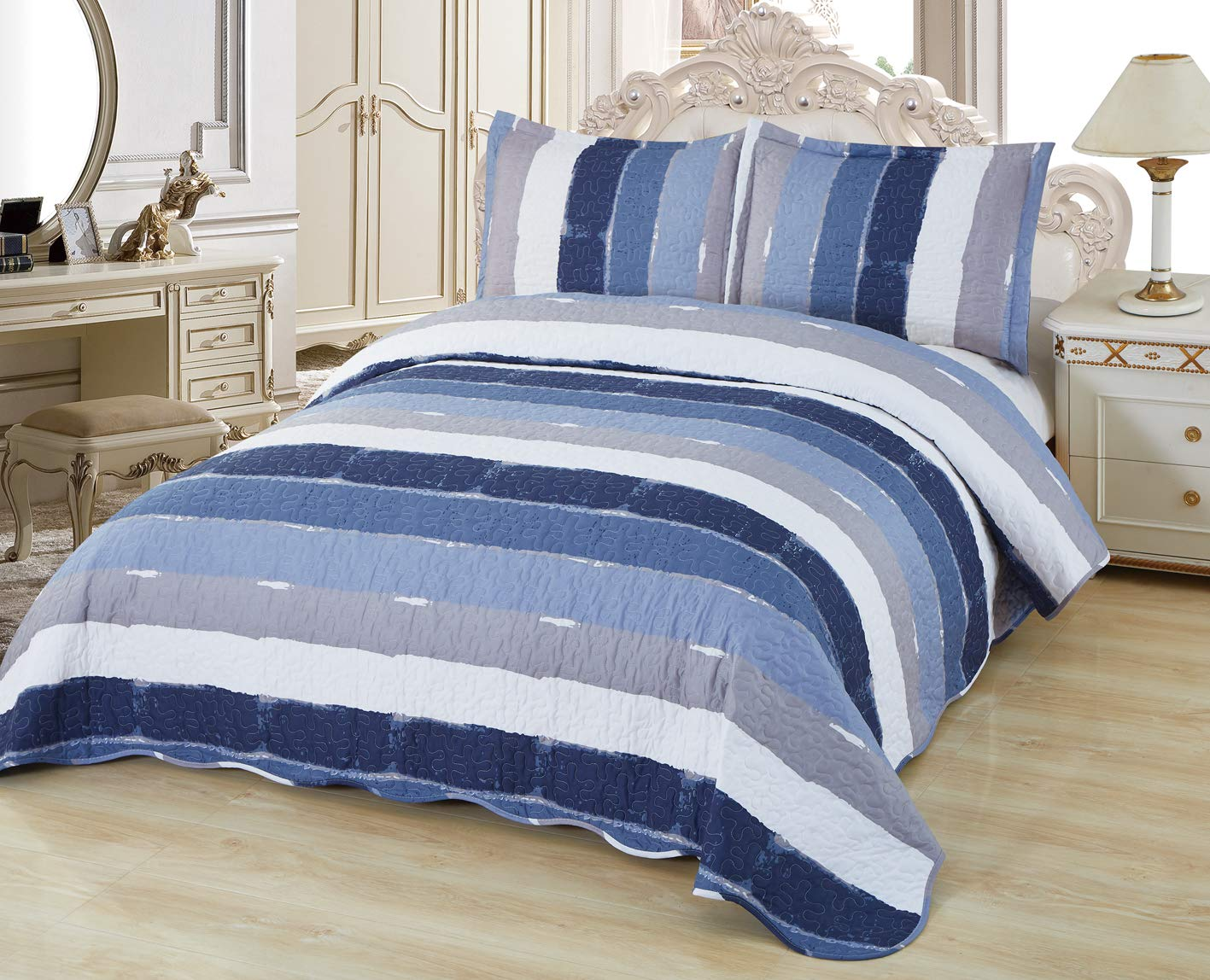 Sapphire Home 3 Piece Full/Queen Size Quilt Bedspread Coverlet Bedding Set w/2 Pillow Shams, Soft Pre-Washed Bed Cover, Elegant Stripes Pattern, Blue Gray Navy White, Queen 8143 Kimora