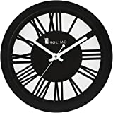 Amazon Brand - Solimo 11.25-inch Wooden Wall Clock (Silent Movement, Black Frame)