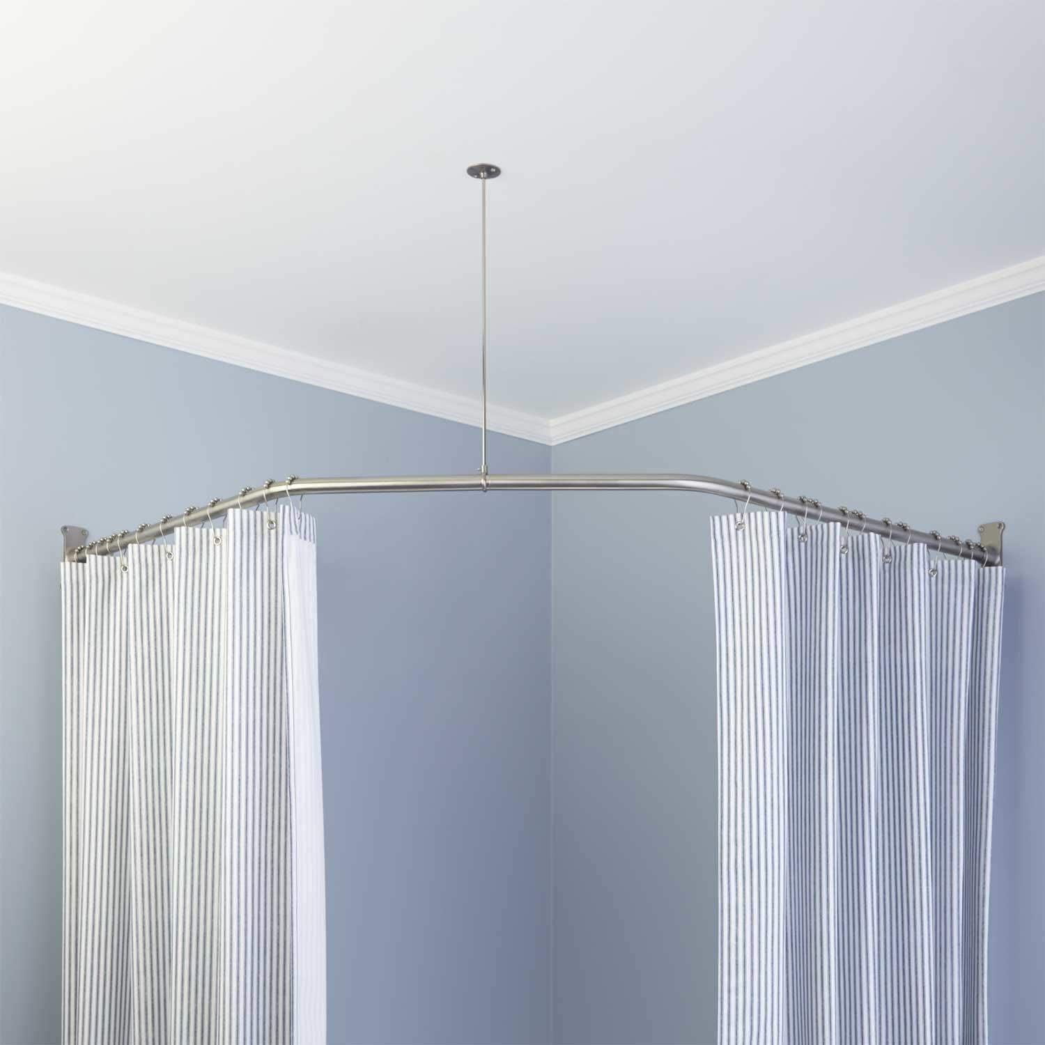 Naiture 36 Standard Stainless Steel Shower Rod Ceiling Support with 1 Loop Chrome Finish