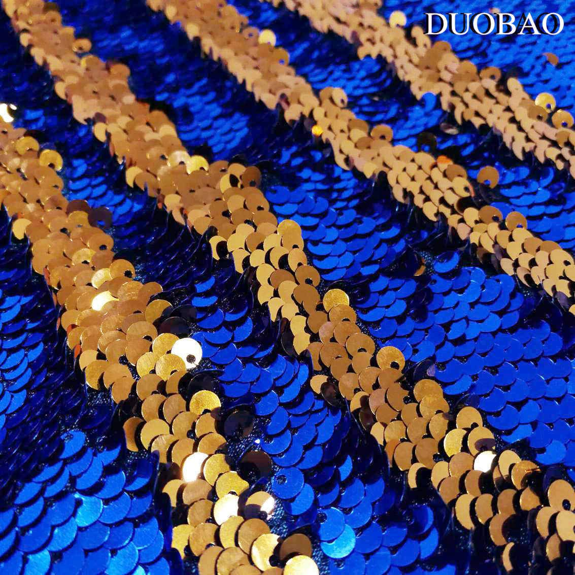 DUOBAO Sequin Backdrop 8Ft Royal Blue to Orange Mermaid Sequin Backdrop Fabric 6FTx8FT Two Tone Sequin Curtains by DUOBAO (Image #5)