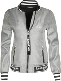BEBE SPORT Ladies Soft Shell Fleece Lined Bomber Jacket with Rhinestone Logo