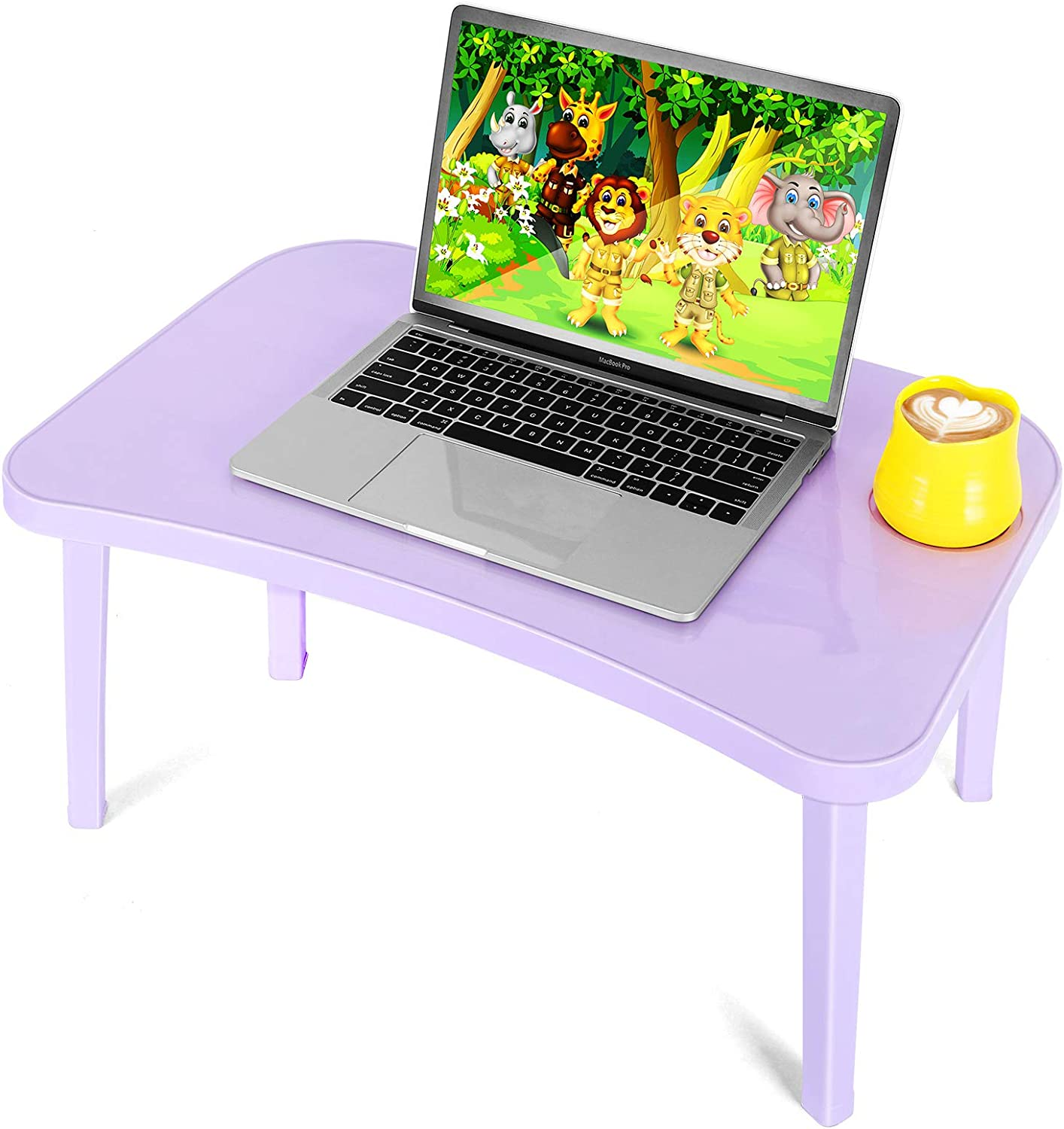 Laptop Table for Bed- Lap Desk for Kids Bed Trays for Eating and Laptops Portable Plastic Laptop Desk is Very Light and Easy to Fold, Great for Kids, Adults, Boys, Girls (Purple)