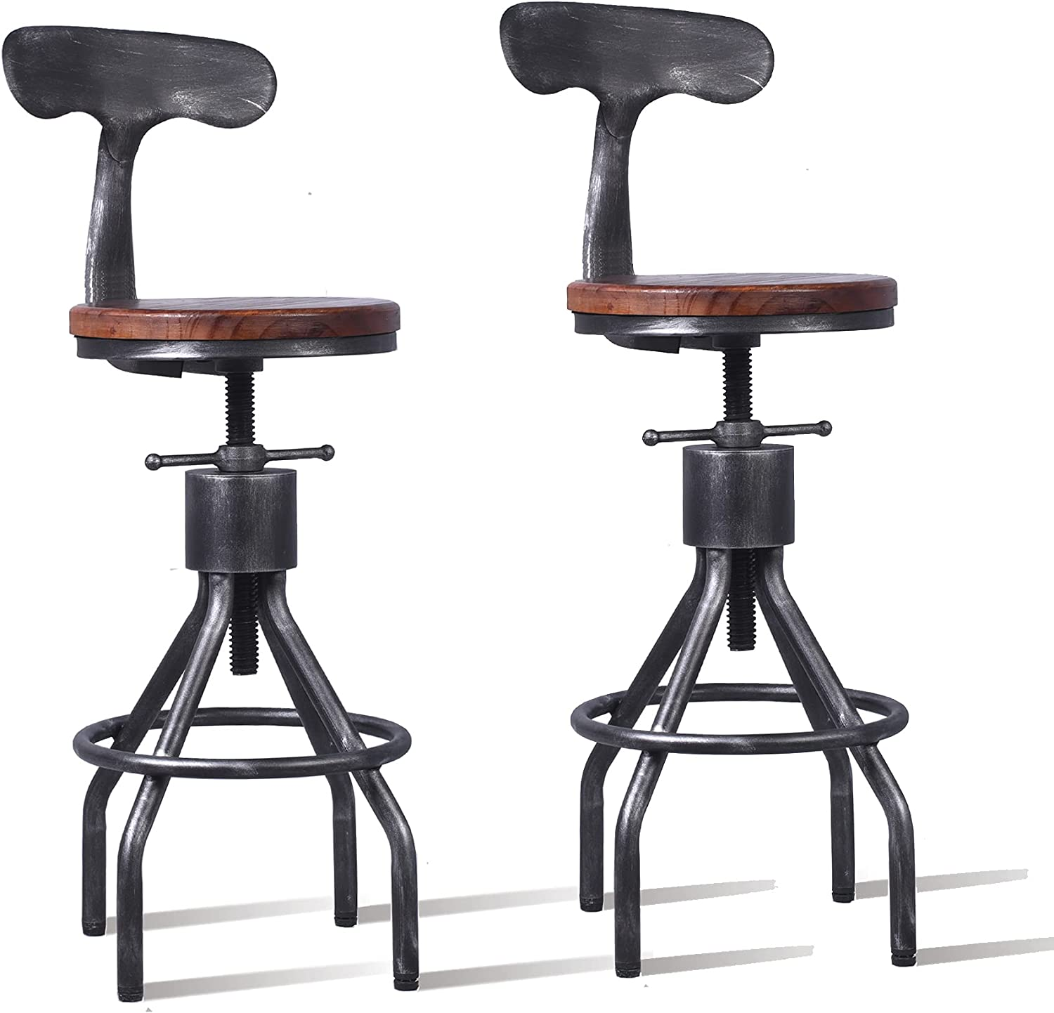 Diwhy Industrial Vintage Bar Stool,Kitchen Counter Height Adjustable Pipe Stool,Cast Iron Stool,Swivel Bar Stool with Backrest,Metal Stool,Silver,Fully Welded Set of 2 (Wooden Top)