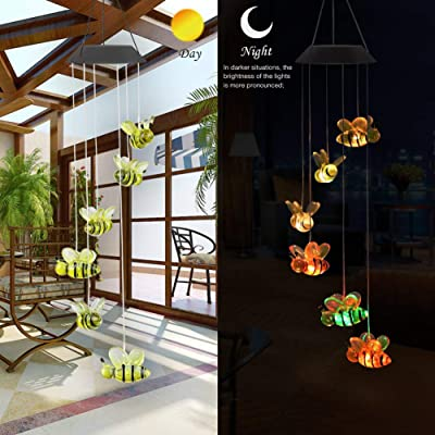 Solar Lights Outdoor, Color-Changing Outdoor Pendant Bell Solar Powered Lamp Bee Wind Chime LED Light Colorful