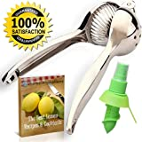 Lemon Squeezers & Lime Press Juicing Tool – Ultimate Chef Proven Manual Juicer For Citrus Fruit – & Heavy Duty While Easy to Squeeze – Top Rated Squeezer With Mister Sprayer & E-book