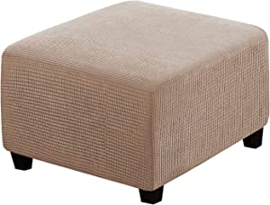 Square Ottoman Covers Ottoman Slipcovers Folding Storage Stool Furniture Protector Form Fit with Elastic Bottom, Stretch High Spandex Small Checks Jacquard Fabric, Sand