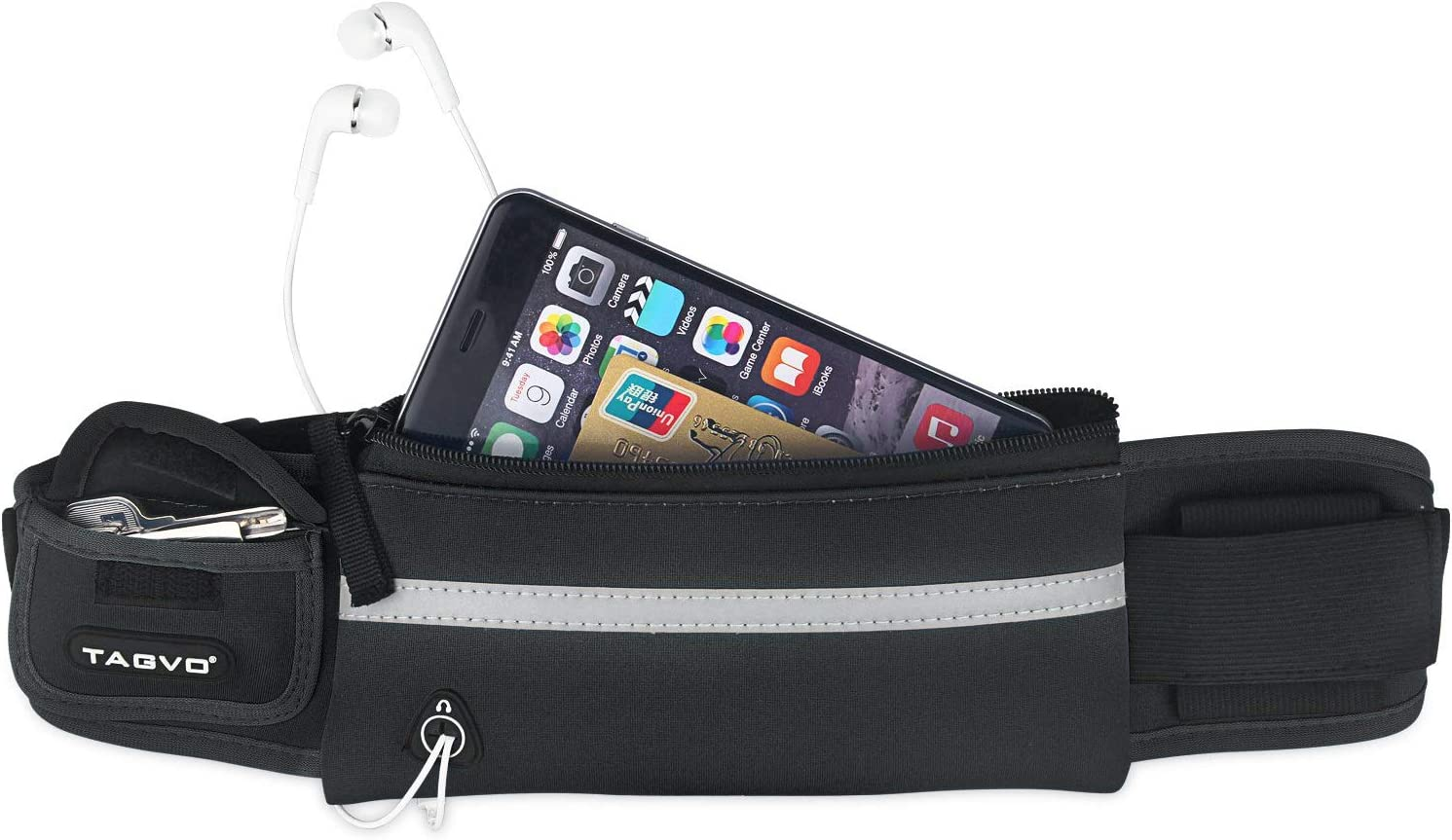 TAGVO Running Waist Pack with Adjustable Elastic Strap Suitable for All Women Men Anti-Bouncing Sweat Proof Fanny Pack, Fitness Sport Belt with Reflective Patch for Carrying Keys, Cards, Phones