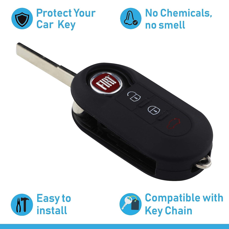 ASARAH Couvercle de cl/é en Silicone Premium Compatible avec Fiat Couvercle de Protection pour cl/és de Voiture Bleu Vif Couvercle pour Type de cl/é 3BKB-b