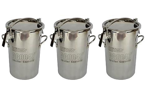 Amazon.com: temco 3 Qty 10 Litro 2.5 galones cubeta de acero ...