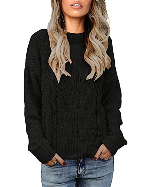 Vetinee Women Long Sleeves Soft Velvet Cable Knit Crewneck Sweater Pullover  Top