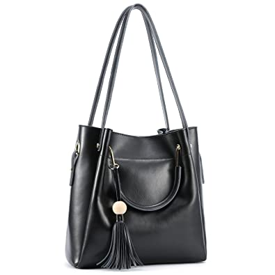 Kattee Women s Genuine Leather Hobo Tote Shoulder Bag with Tassel (Black) 31a493e6db658