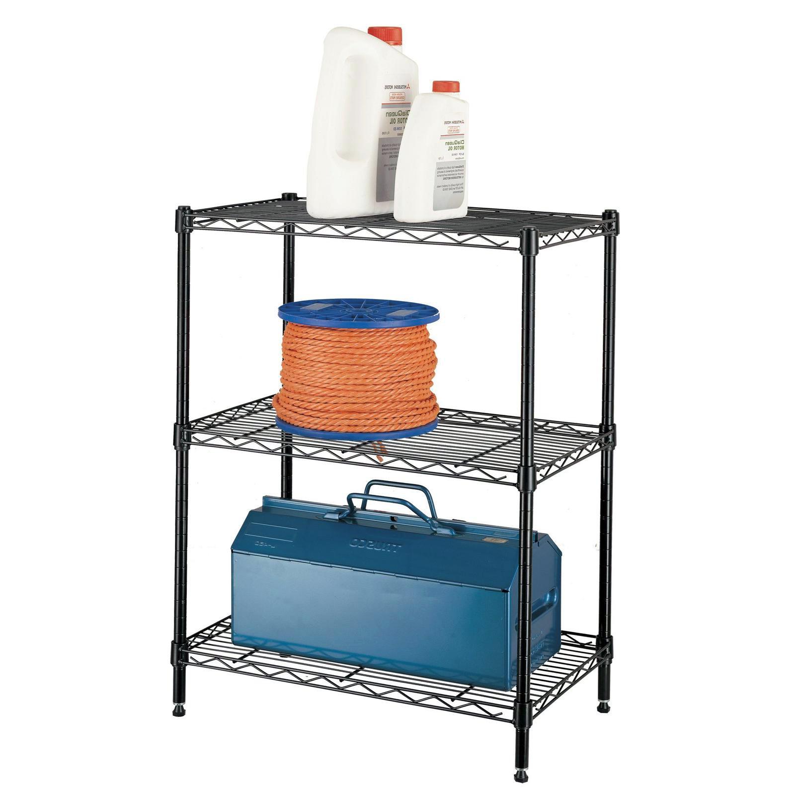 Garage Storage 3 Tier Shelving Unit Black Deep Shelves
