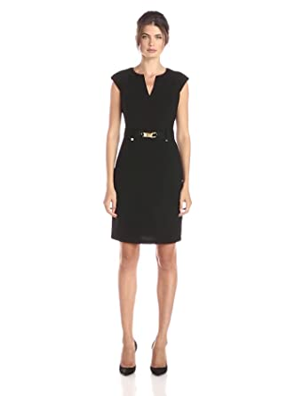Calvin Klein Women's Shift Dress With Gold Hardware, Black, ...