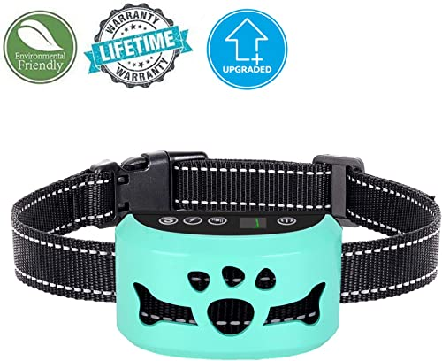 Bark Collar – Humane, No Shock Training Collar – Action Without Remote – Vibration Sound Care Modes – for Small, Medium, Large Dogs Breeds – No Harm Deterrent Reflective Vibrating Control