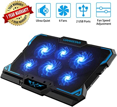 for Up to 17 Laptops,C Laptop Cooling Pad Portable Cooling Fan 5 Quiet Fans and 2 USB Ports