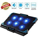 Laptop Cooling Pad, Laptop Cooler with 6 Quiet Led Fans for 15.6-17 Inch Laptop Cooling Fan Stand, Portable Ultra Slim…