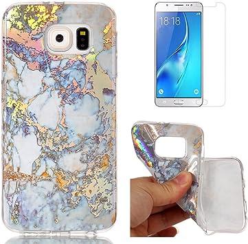 OYIME Coque pour Samsung Galaxy S6 Edge Motif marbré bleu et gris, unique de luxe à paillettes colorées, design peau en caoutchouc de silicone ...
