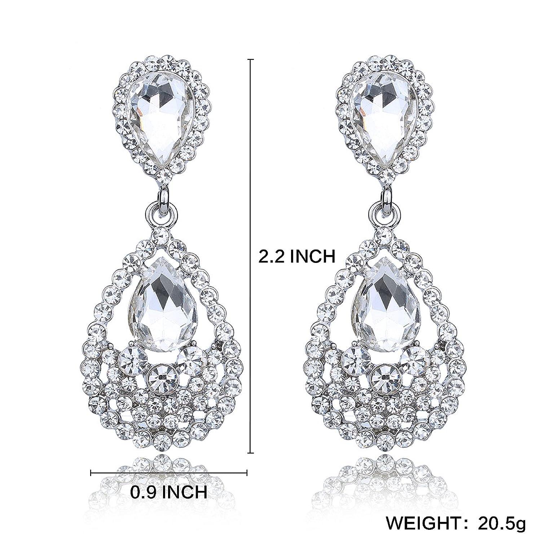 Amazon YUXI Women s Rose Gold Crystal Chandelier Earrings