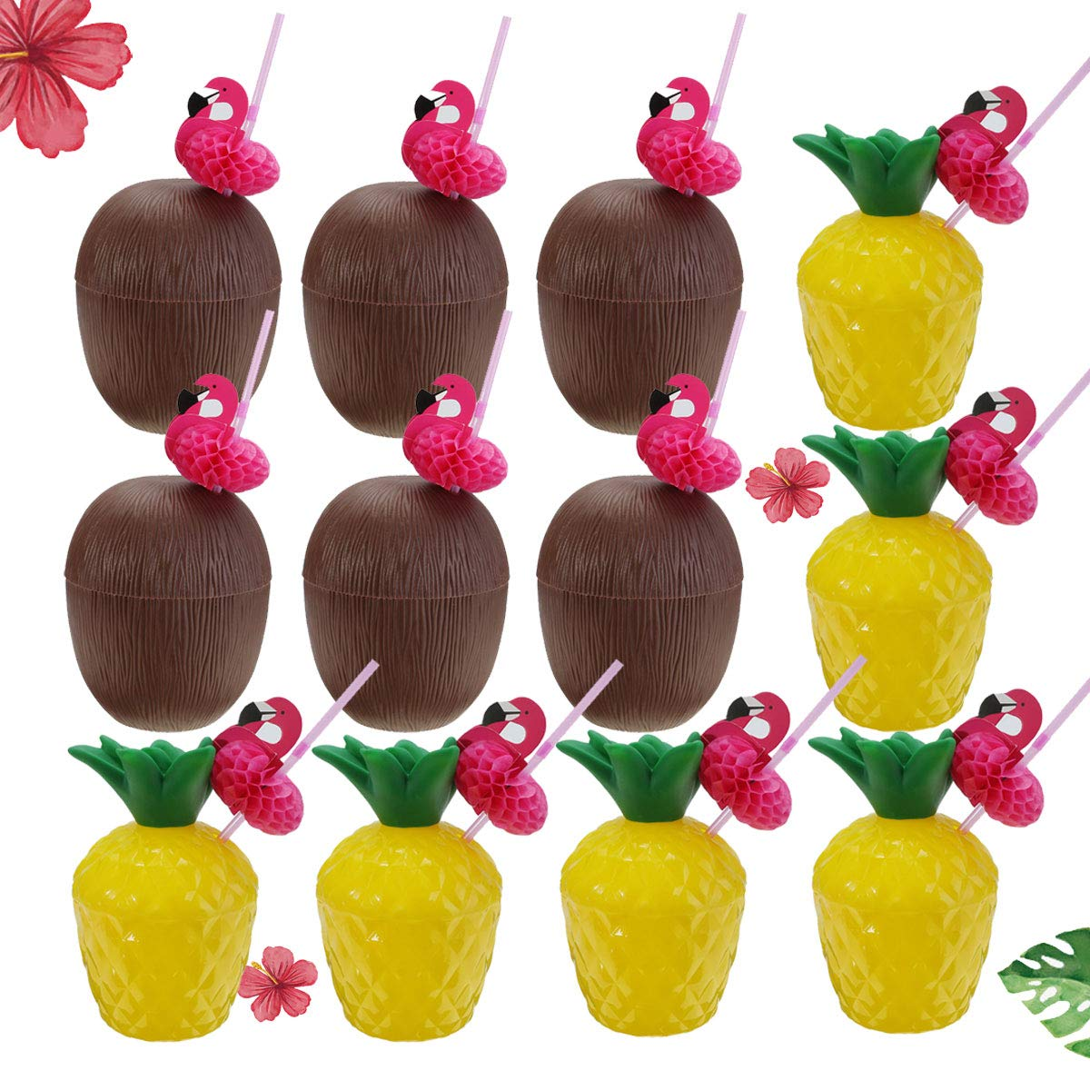 G.CORE 12PCS Leak Prevention Pineapple Drink Cups Hawaiian Luau Plastic Coconut Cups with Flamingo Straws, Hawaii Party Cups Beach Events Children's Party by G.CORE