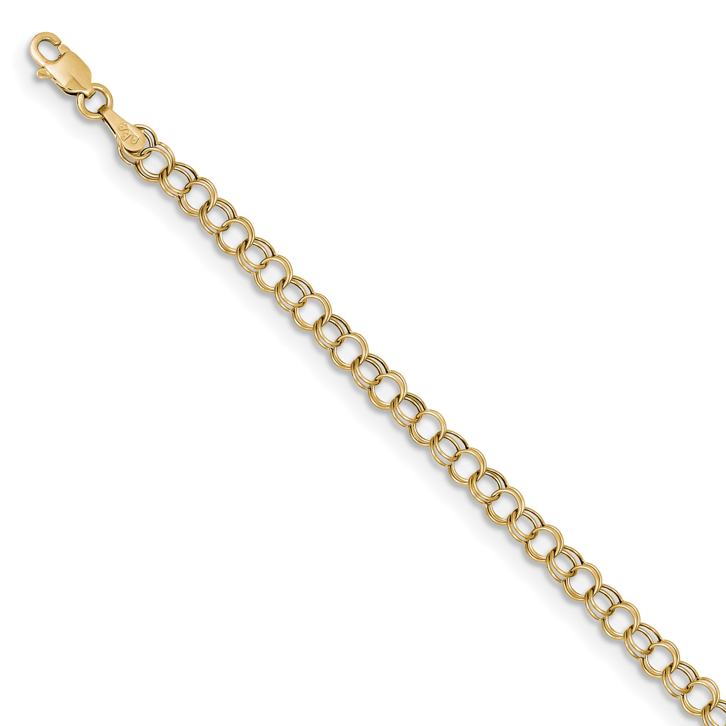 ICE CARATS 10k Yellow Gold Double Link Charm Bracelet 8 Inch Fine Jewelry Gift Set For Women Heart