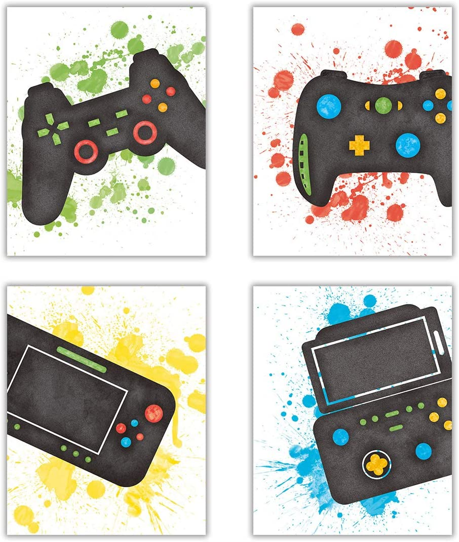 LHIUEM Video Game Art Print Watercolor Typography Cardstock,Funny Gaming Themed Poster Match Controllers Picture Artwork For Teen Boy Media Room Kid Gamer Playroom Wall Decor(set of 4,8''x 10''UNFRAMED)