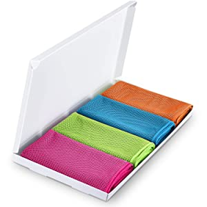 AK Cooling Towels (40x12 inches), Super Absorbent Snap Cooling Towels for Sports and Fitness Women Men