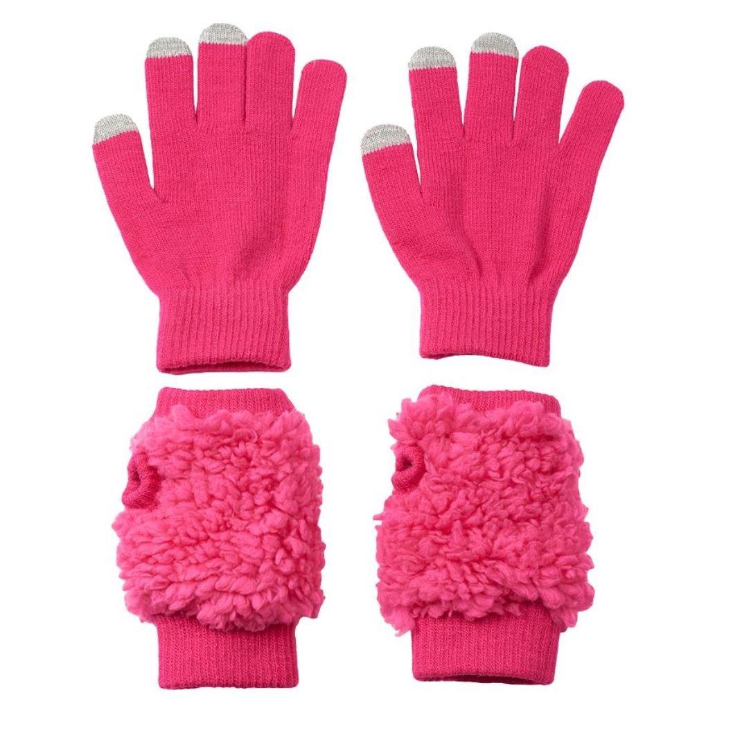 SO Girl Teddy Fur Touch Magic Texting Glove Hand Warmer Set
