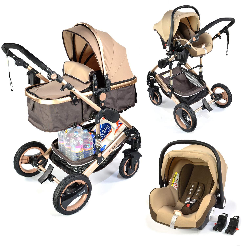 3 in 1 Kinderwagen Bambimo Farbe Gold Braun - 2 in 1 Babywanne - Sportsitz - Buggy - Babyschale - Autositz - Aluminium Gestell - Kombi Kinderwagen Daliya