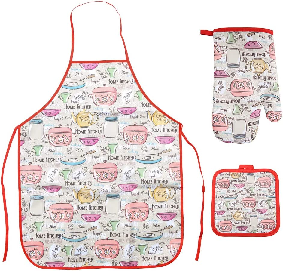Ryncoco Kitchen Cooking Set - Apron, Oven Mitt Pot Holder 3 Piece Set of Apron, Oven Mitt, Pot Holder
