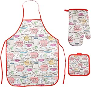 Ryncoco Kitchen Cooking Set - Apron, Oven Mitt Pot Holder 3 Piece Set of Apron, Oven Mitt, Pot Holder