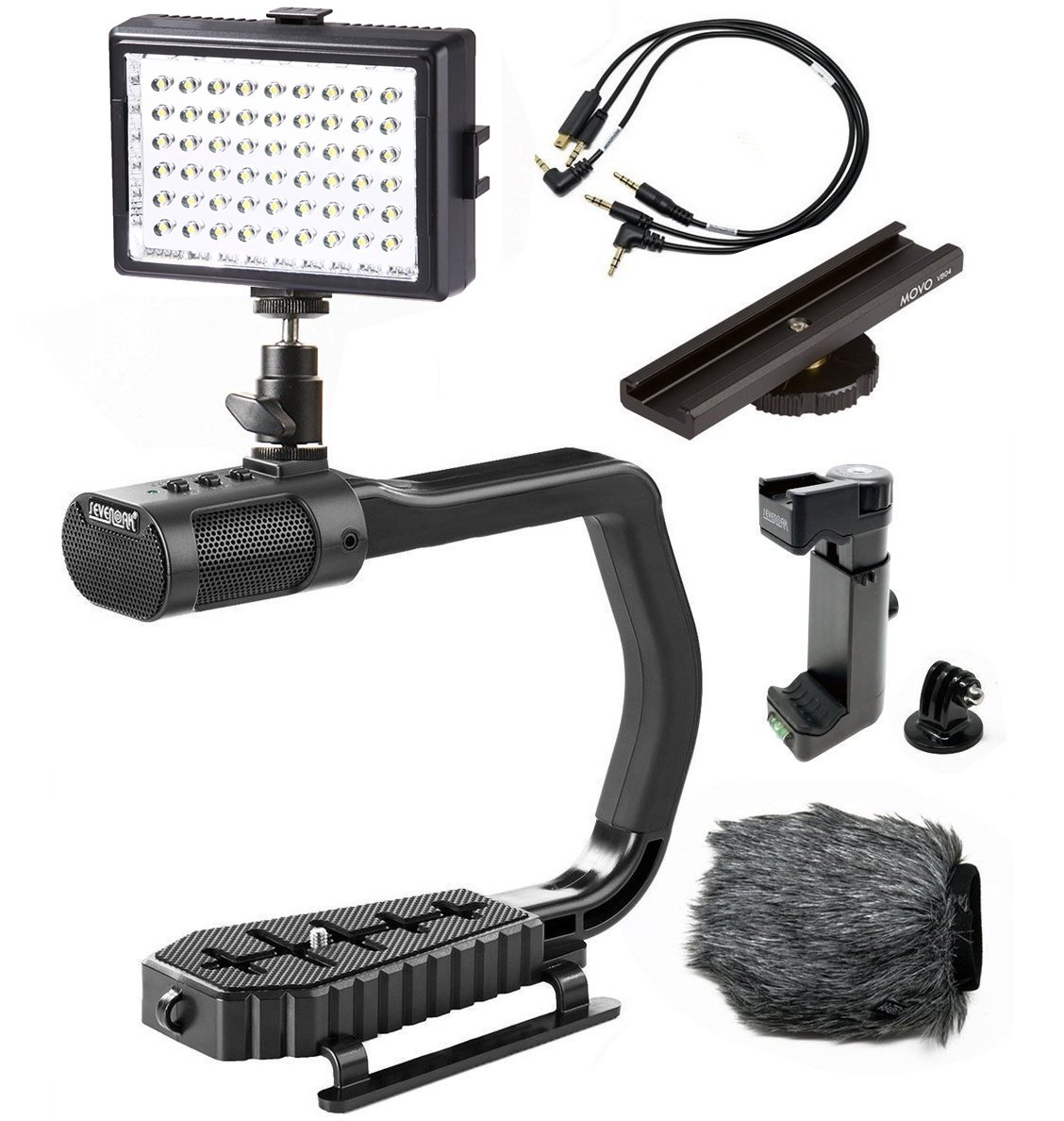 Sevenoak MicRig Video Bundle with Grip Handle, Stereo Microphone, 54 LED Light, Shoe Extender Bracket, Windscreen, Adapters for DSLR Cameras, Smartphones and GoPro by Movo